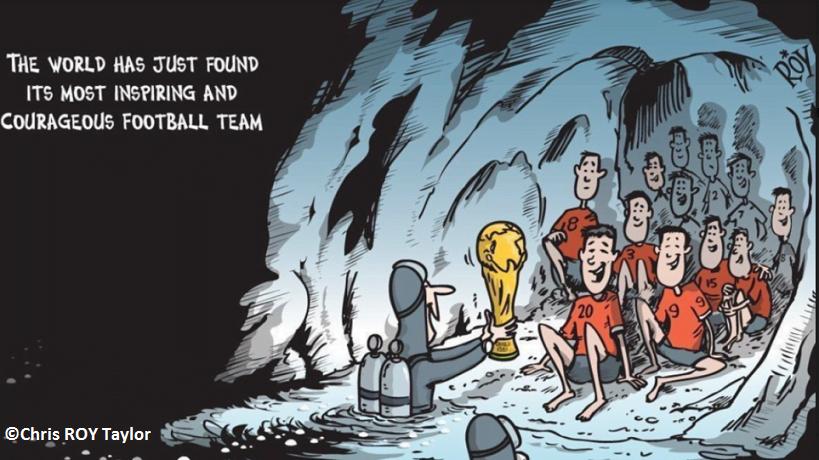 Ένας γελοιογράφος απένειμε το Παγκόσμιο Κύπελλο 2018 στα 12 αγόρια της «Wild Boar» από την Ταϊλάνδη