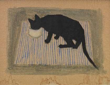 Μαύρη γάτα σε χαρακτικό του Ανδρέα Βουρλούμη