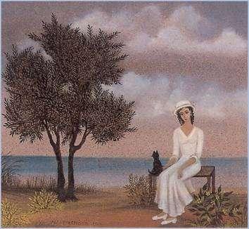 «Γυναίκα και γάτα», έργο της Νίκης Ελευθεριάδη