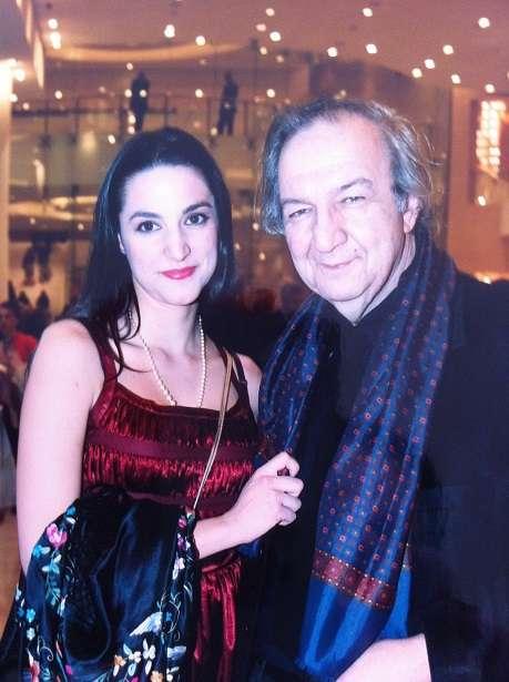 Με την κόρη του Κατερίνα Ευαγγελάτου, σε βράβευσή του